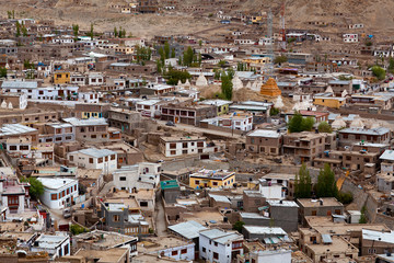 Leh city is located in the Indian Himalayas, India