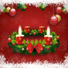 Adventskranz zwei Kerzen leuchten