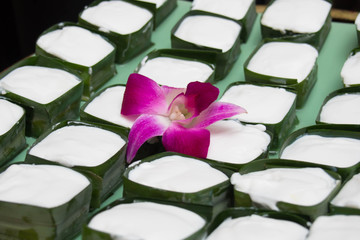 Thai dessert with coconut milk and bamboo leafs