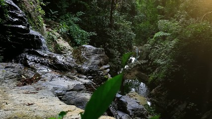 Waterfall in deep forest on Koh Samui. HD. 1920x1080