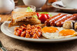 canvas print picture - English breakfast with sausage