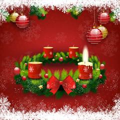 Adventskranz eine Kerzen leuchtet