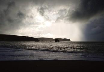 stormy devon beach