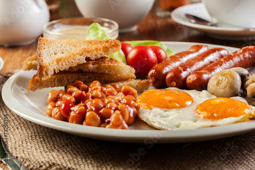 canvas print picture English breakfast with sausage