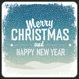 Merry Christmas Greeting Retro Card. Vector