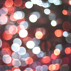 red and blue bokeh lights, squuare format