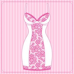 Fashion female lingerie with vintage lace ornament.