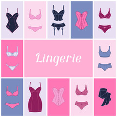 Fashion lingerie background design with female underwear.