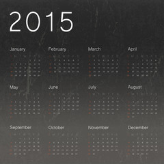 Calendar 2015 on black chalkboard background.Vector