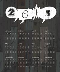 Calendar 2015 on wooden background. Vector