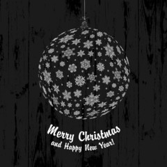 Christmas Ball On Dark Wooden Background, vector.