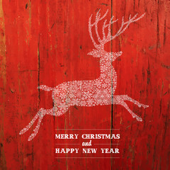Christmas Deer Silhouette On Red Planks Texture. Vector