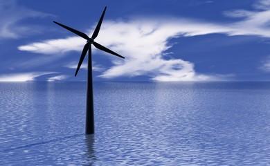 Een windmolen in de zee