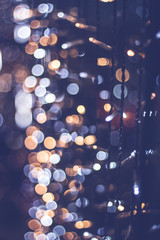 blue and golden christmas lights decoration, abstract bokeh back