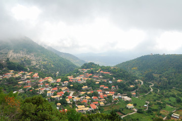 Remote village of Eglouvi in the mountains of Lefkada