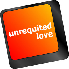 unrequited love on key or keyboard showing internet dating