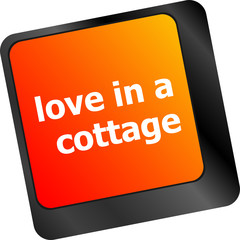 button keypad keyboard key with love is a cottage words