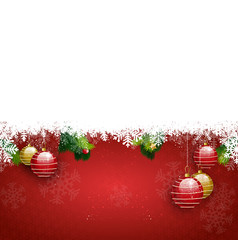 Top Background red balls christmas