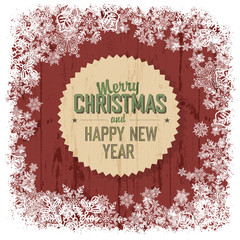 Merry Christmas greeting on red wooden background, vector.