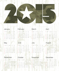 Military Calendar 2015. Vector.