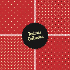 Classical Red Textured Polka Dot Seamless Different Patterns Col