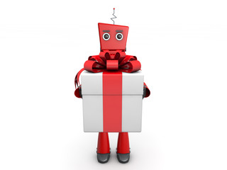 red robotic toy and christmas gifts