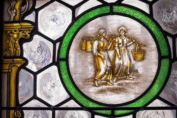 old stained glass window