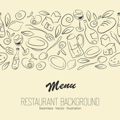Seamless Resaurant Background With Copyspace. Vector