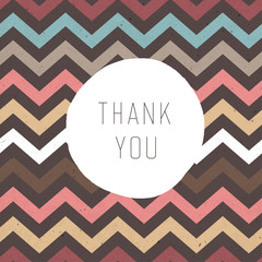 Thank you card. Zigzag pattern seamless texture with label. Vect
