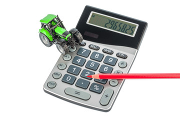 Traktor, Rotstift und Taschenrechner