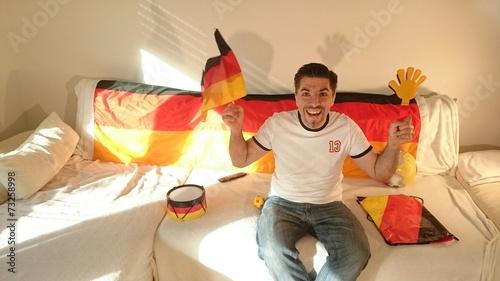 canvas print picture Fußballfan Deutschland Spiel freut sich