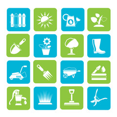 Silhouette Gardening tools and objects icons
