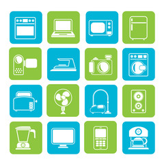 Silhouette household appliances and electronics icons