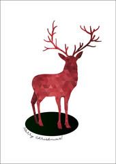 Geometric Christmas deer, vector illustration