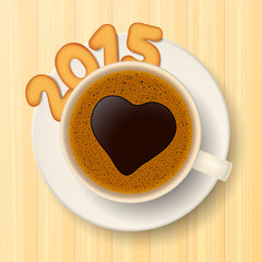 Coffee cup and New Year's cookies