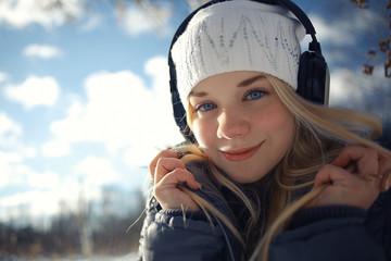 sunny spring portrait of blonde snow