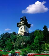 Clock tower in Graz, Austria, UNESCO World Heritage Site