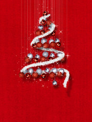 Christmas Tree Made of Ornaments on Red Textured Background