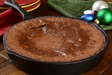 Fresh baked brownies in the pan