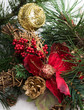 Christmas background with pine tree, cones, red flower in snow