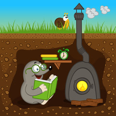 mole reading book at home - vector illustration, eps