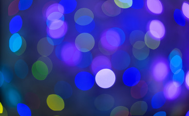 Blue and purple holiday bokeh. Abstract Christmas background