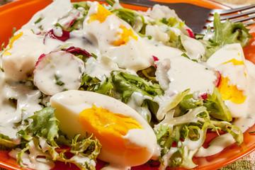 Salad with egg, radish and cucumber.