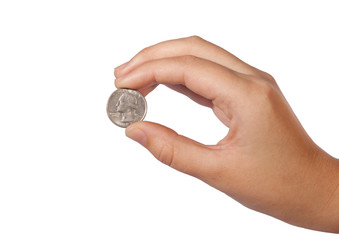 US coin between the fingers on white background