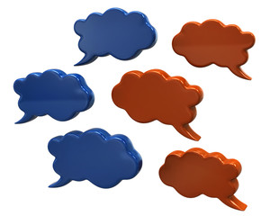 Blue and orange speech bubbles