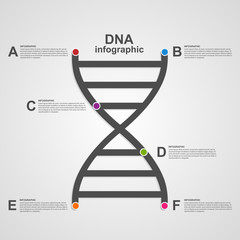 DNA science infographics design line style concept.