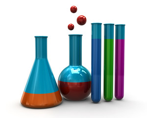 Colorful illustration of laboratory glass