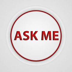 ask me circular icon on white background
