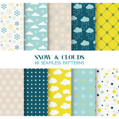 10 Seamless Patterns - Snow and Clouds - Texture for wallpaper