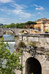 Old town center in Rome Italy on the Tiber river